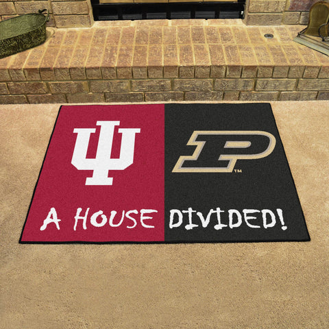 NCAA Rivalry Rug Indiana Hoosiers / Purdue Boilermakers House Divided Mat - Bed, Bath, And My Team