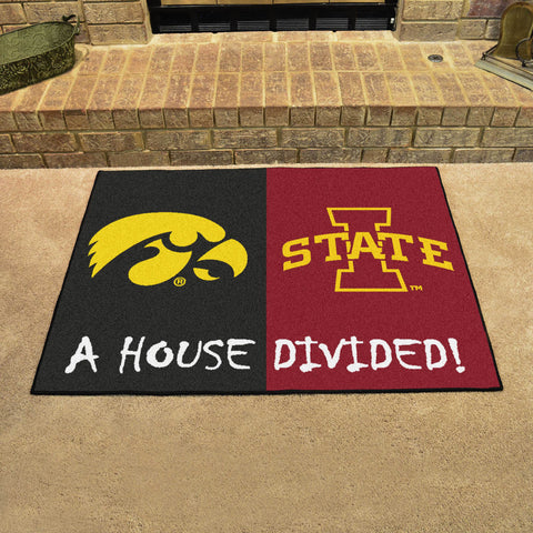 NCAA Rivalry Rug Iowa Hawkeyes / Iowa State Cyclones House Divided Mat - Bed, Bath, And My Team