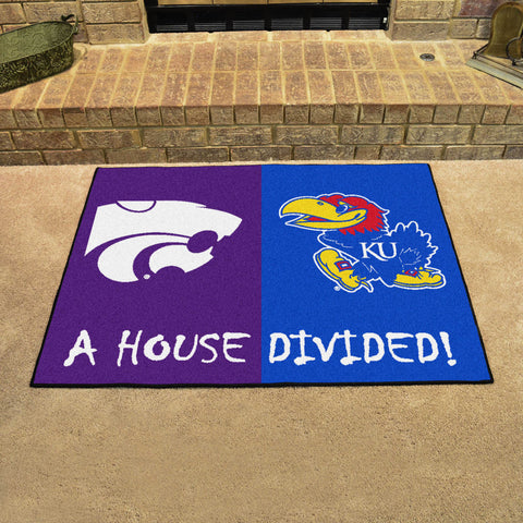 NCAA Rivalry Rug Kansas Jayhawks / Kansas State Wildcats House Divided Mat - Bed, Bath, And My Team