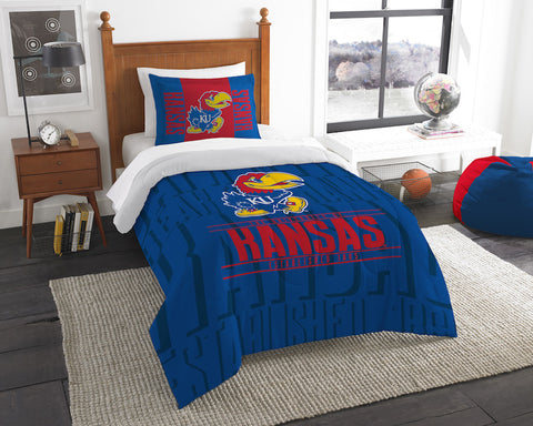 NCAA Kansas Jayhawks Twin Comforter and Pillow Sham - Bed, Bath, And My Team