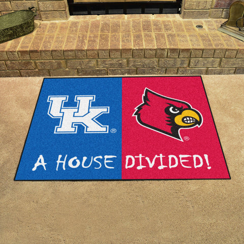 NCAA Rivalry Rug Kentucky Wildcats / Louisville Cardinals House Divided Mat - Bed, Bath, And My Team