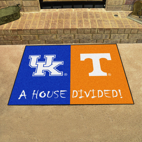 NCAA Rivalry Rug Kentucky Wildcats / Tennessee Volunteers House Divided Mat - Bed, Bath, And My Team