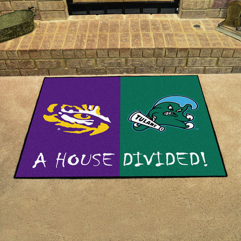 NCAA Rivalry Rug LSU Tigers / Tulane Green Wave House Divided Mat - Bed, Bath, And My Team