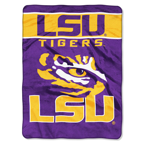 NCAA LSU Tigers 60 x 80 Large Plush Raschel Throw Blanket - Bed, Bath, And My Team