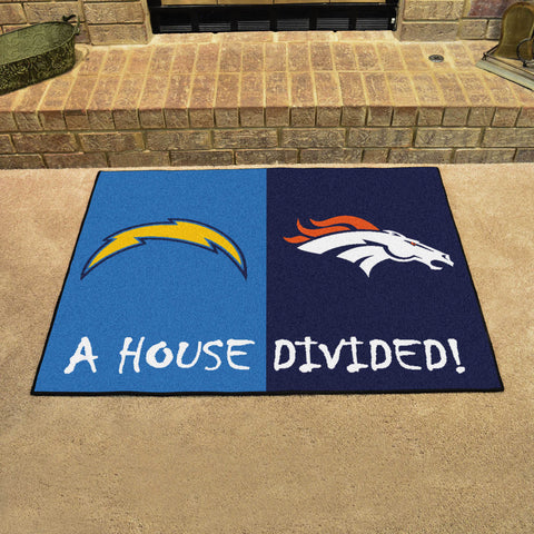 NFL Rivalry Rug Los Angeles Chargers / Denver Broncos House Divided Mat - Bed, Bath, And My Team