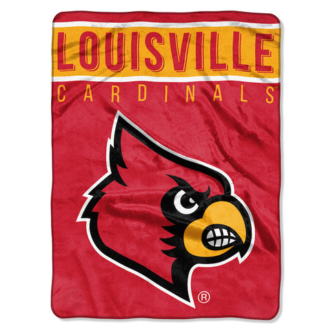 NCAA Louisville Cardinals 60 x 80 Large Plush Raschel Throw Blanket - Bed, Bath, And My Team