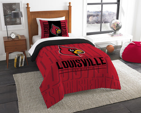 NCAA Louisville Cardinals Twin Comforter and Pillow Sham - Bed, Bath, And My Team