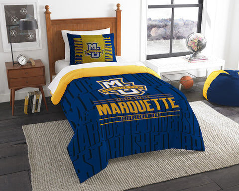 NCAA Marquette Golden Eagles Twin Comforter and Pillow Sham - Bed, Bath, And My Team