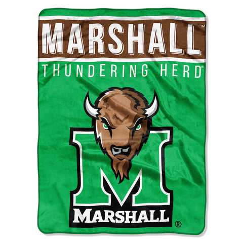 NCAA Marshall Thundering Herd 60 x 80 Large Plush Raschel Throw Blanket - Bed, Bath, And My Team