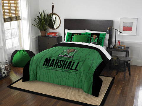 NCAA Marshall Thundering Herd Queen/Full Comforter and Sham Set - Bed, Bath, And My Team