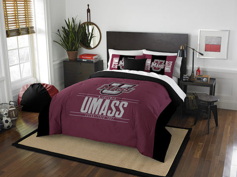 NCAA Massachusetts Minutemen Queen/Full Comforter and Sham Set - Bed, Bath, And My Team