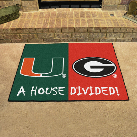 NCAA Rivalry Rug Miami Hurricanes / Georgia Bulldogs House Divided Mat - Bed, Bath, And My Team