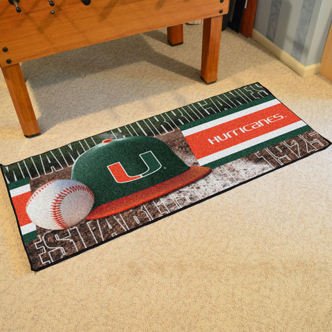 NCAA Miami Hurricanes Baseball Logo Carpet Runner Rug - Bed, Bath, And My Team