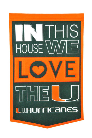 NCAA Miami Hurricanes HOME Hanging Wool Banner - Bed, Bath, And My Team