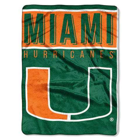 NCAA Miami Hurricanes 60 x 80 Large Plush Raschel Throw Blanket - Bed, Bath, And My Team