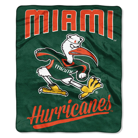 NCAA Miami Hurricanes 50 x 60 Alumni Raschel Throw Blanket - Bed, Bath, And My Team