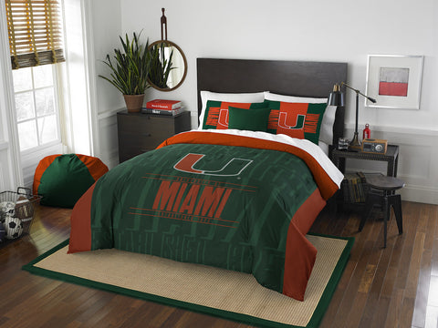 NCAA Miami Hurricanes Queen/Full Comforter and Sham Set - Bed, Bath, And My Team