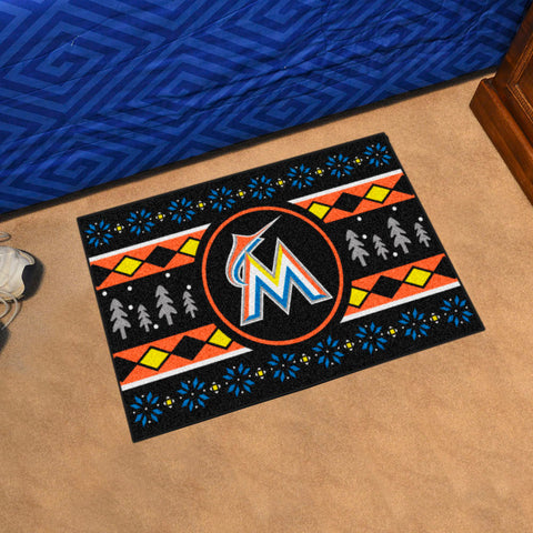 Miami Marlins Holiday Sweater Rug