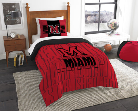 NCAA Miami of Ohio Red Hawks Twin Comforter and Pillow Sham - Bed, Bath, And My Team