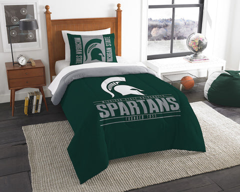 NCAA Michigan State Spartans Twin Comforter and Pillow Sham - Bed, Bath, And My Team