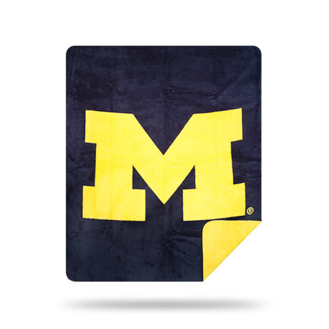 NCAA Michigan Wolverines 60 x 72 DENALI Silver Knit Throw Blanket - Bed, Bath, And My Team