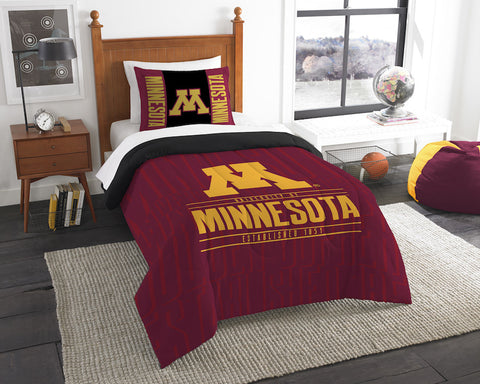 NCAA Minnesota Golden Gophers Twin Comforter and Pillow Sham - Bed, Bath, And My Team