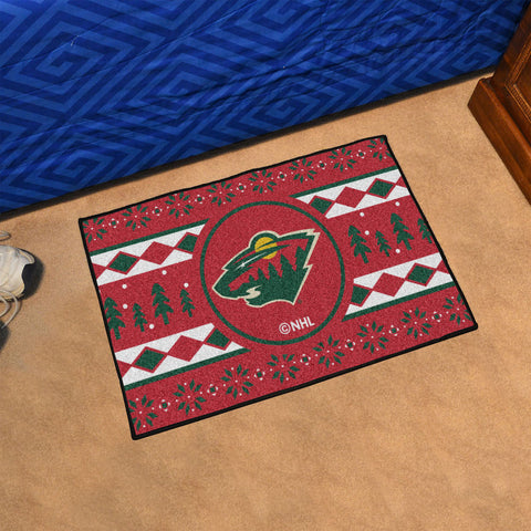Minnesota Wild Holiday Sweater Rug