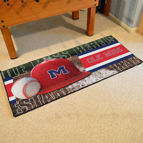 NCAA Mississippi Rebels Baseball Logo Carpet Runner Rug - Bed, Bath, And My Team