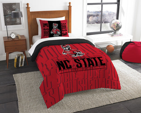 NCAA NC State Wolfpack Twin Comforter and Pillow Sham - Bed, Bath, And My Team