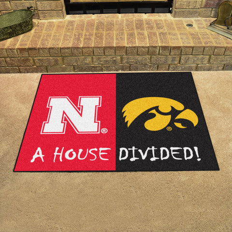 Nebraska Cornhuskers Iowa Hawkeyes Rivalry Rug