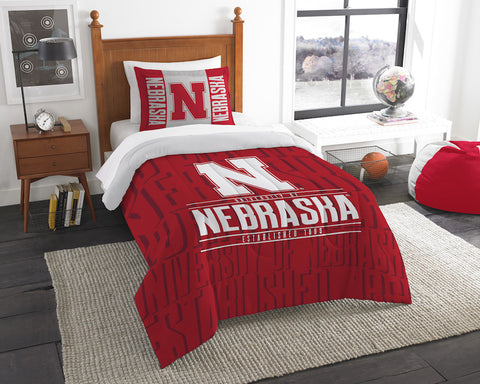 NCAA Nebraska Cornhuskers Twin Comforter and Pillow Sham - Bed, Bath, And My Team