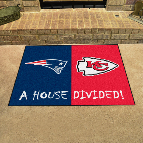 NFL Rivalry Rug New England Patriots / Kansas City Chiefs House Divided Mat - Bed, Bath, And My Team