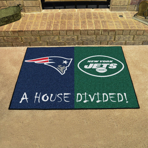 NFL Rivalry Rug New England Patriots / New York Jets House Divided Mat - Bed, Bath, And My Team