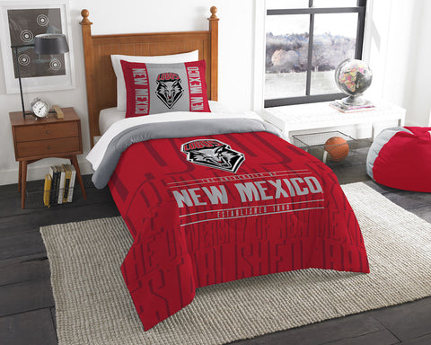 NCAA New Mexico Lobos Twin Comforter and Pillow Sham - Bed, Bath, And My Team