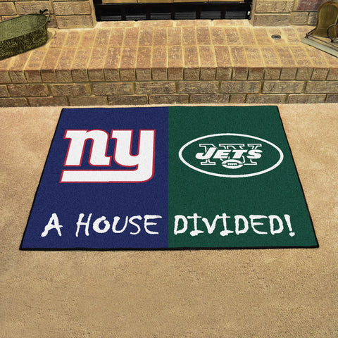 NFL Rivalry Rug New York Giants / New York Jets House Divided Mat - Bed, Bath, And My Team