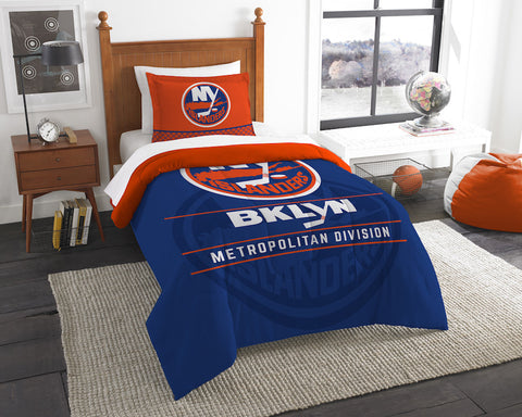 NHL New York Islanders Twin Comforter and Pillow Sham - Bed, Bath, And My Team