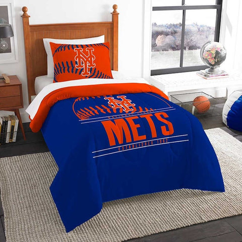 MLB New York Mets Twin Comforter and Pillow Sham - Bed, Bath, And My Team