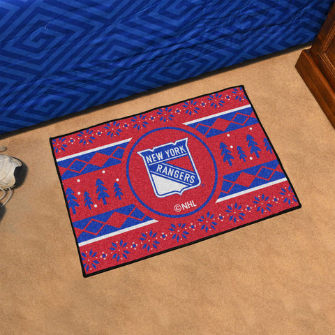 NHL New York Rangers CHRISTMAS SWEATER Starter Rug - Bed, Bath, And My Team