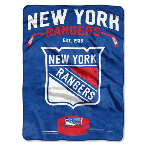 NHL New York Rangers 60 x 80 Large Plush Raschel Throw Blanket - Bed, Bath, And My Team