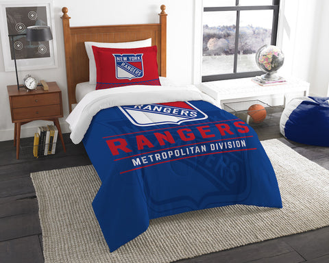 NHL New York Rangers Twin Comforter and Pillow Sham - Bed, Bath, And My Team