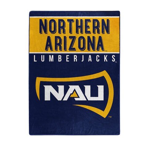 NCAA Northern Arizona Lumberjacks 60 x 80 Large Plush Raschel Throw Blanket - Bed, Bath, And My Team