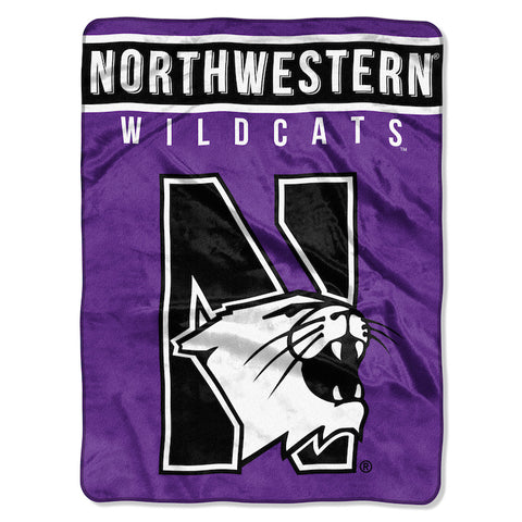 NCAA Northwestern Wildcats 60 x 80 Large Plush Raschel Throw Blanket - Bed, Bath, And My Team
