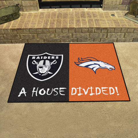 NFL Rivalry Rug Las Vegas Raiders / Denver Broncos House Divided Mat - Bed, Bath, And My Team