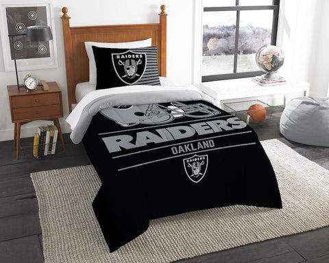 Las Vegas Raiders twin comforter and pillow sham