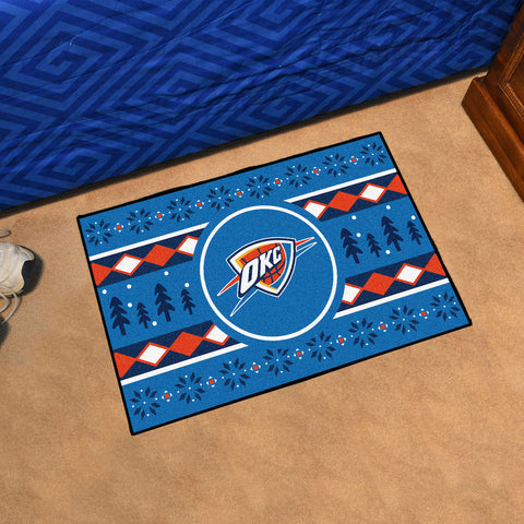 NBA Oklahoma City Thunder CHRISTMAS SWEATER Starter Rug - Bed, Bath, And My Team