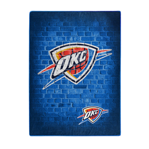 NBA Oklahoma City Thunder 60 x 80 Large Plush Raschel Throw Blanket - Bed, Bath, And My Team