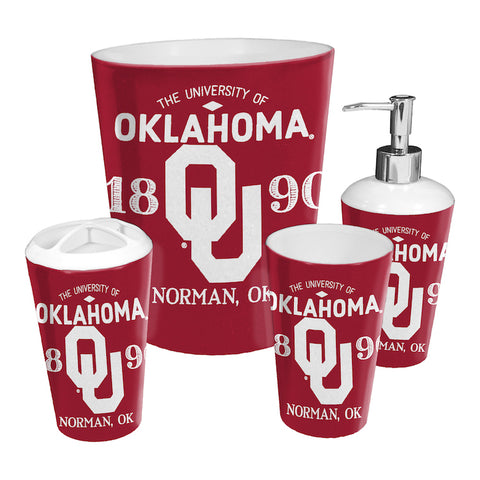 NCAA Oklahoma Sooners 4 Piece Accessory Bathroom Set - Bed, Bath, And My Team