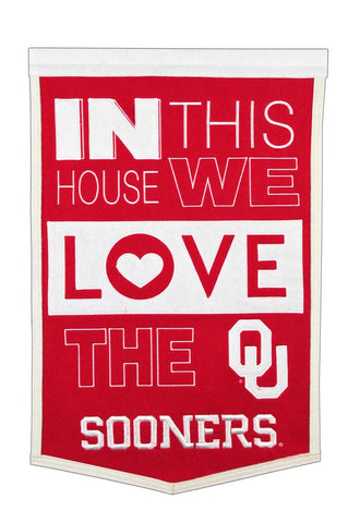 NCAA Oklahoma Sooners HOME Hanging Wool Banner - Bed, Bath, And My Team