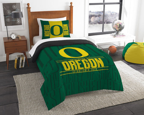 NCAA Oregon Ducks Twin Comforter and Pillow Sham - Bed, Bath, And My Team