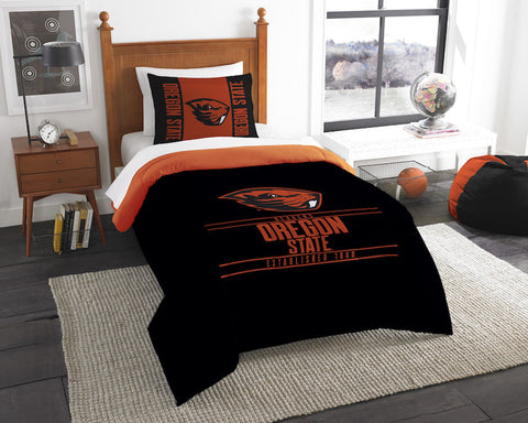 Oregon State Beavers twin comforter and pillow sham